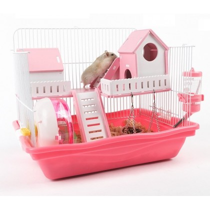 2 Houses Balcony Hamster Cage Pink 37L x 28W x 30H cm