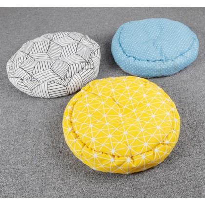 Pet Bed Round Fabric Polka Dot Blue [5577041] 45 x 10cm