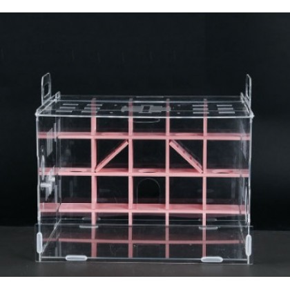 Acrylic Hamster Cage with Maze Pink 33cm L x 29cm W x 29 H [2010096]