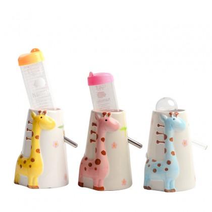 Ceramic Giraffe Hamster Water Bottle Holder Pink [2103125]