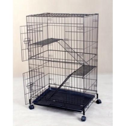 """Cat Cage 24"""" x 16.5"""" x 37"""" H 2 Level [6344G] Matt Black"""